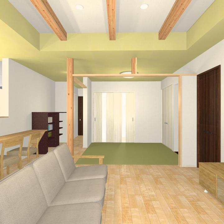 4.9畳の畳コーナーとキッチン前カウンター